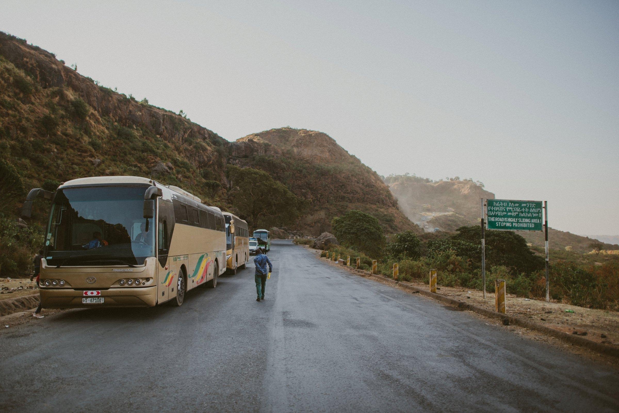 Reisebus, Straße, Afrika, Buspanne, Äthiopien