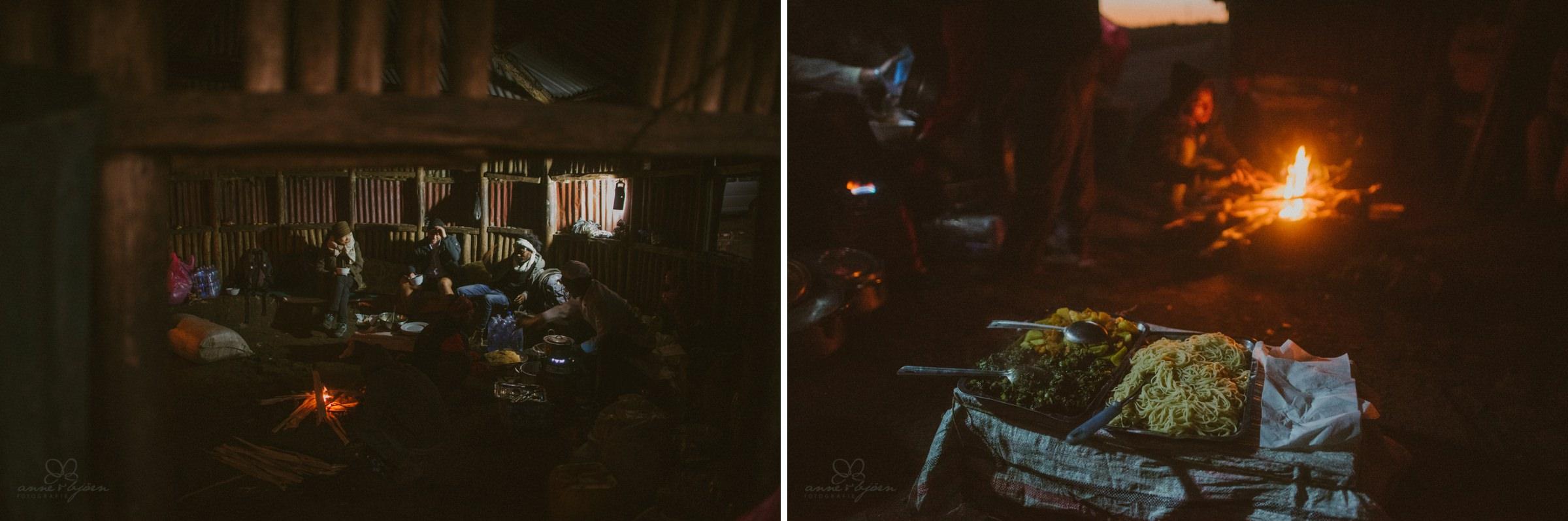 Hütte, Abendessen, Wanderung