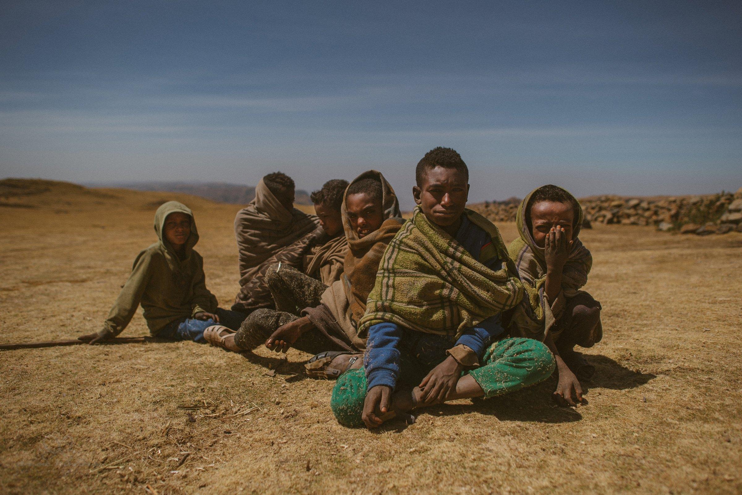 Kinder, Portrait, Afrika, Äthiopien, Umhang, Decke, Sonne, Wüste