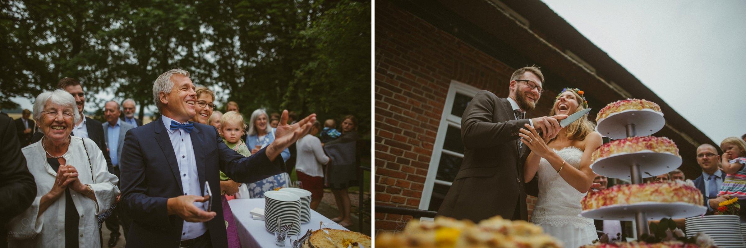 Tortenanschnitt, Hochzeitstorte, Braut und Bräutigam