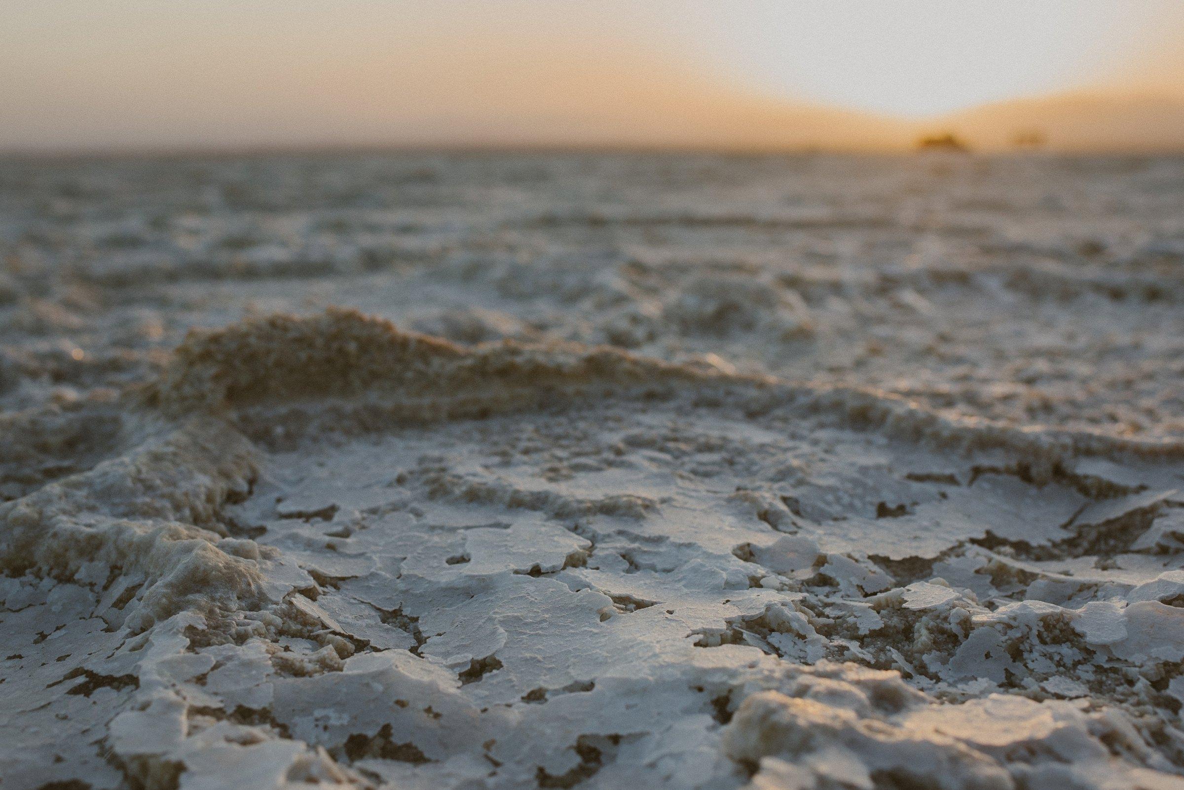 Salz, Salzwüste, Afrika, Sonnenuntergang