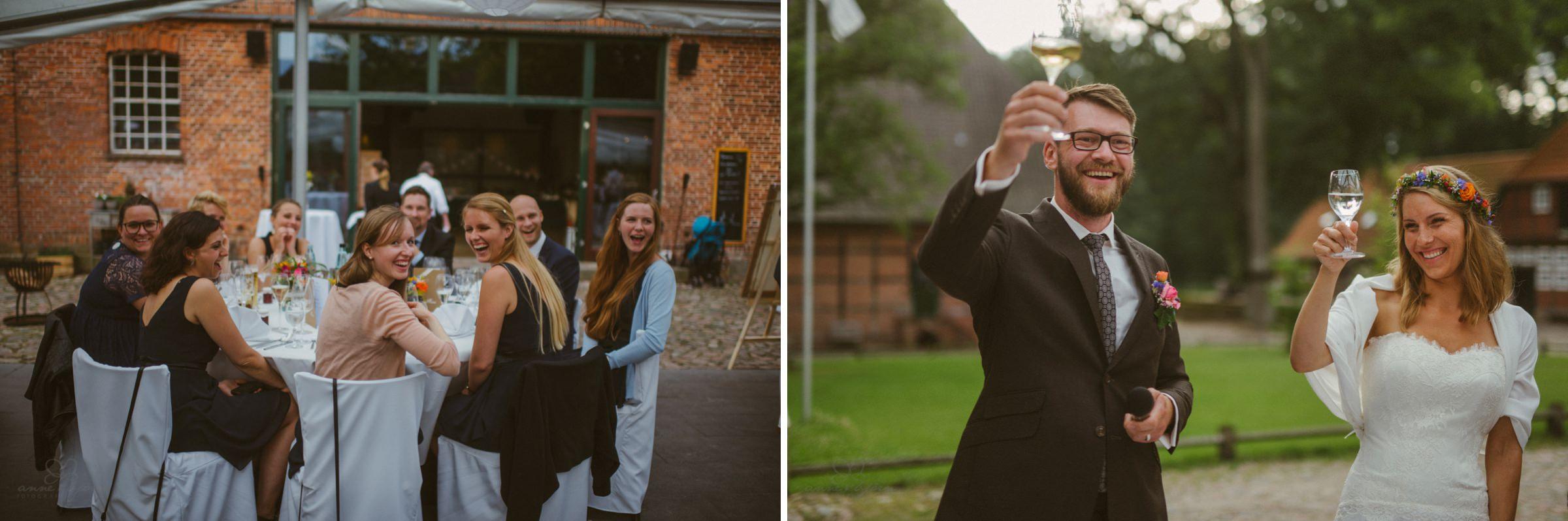 Hochzeitsfeier, Gut Thansen, Prost