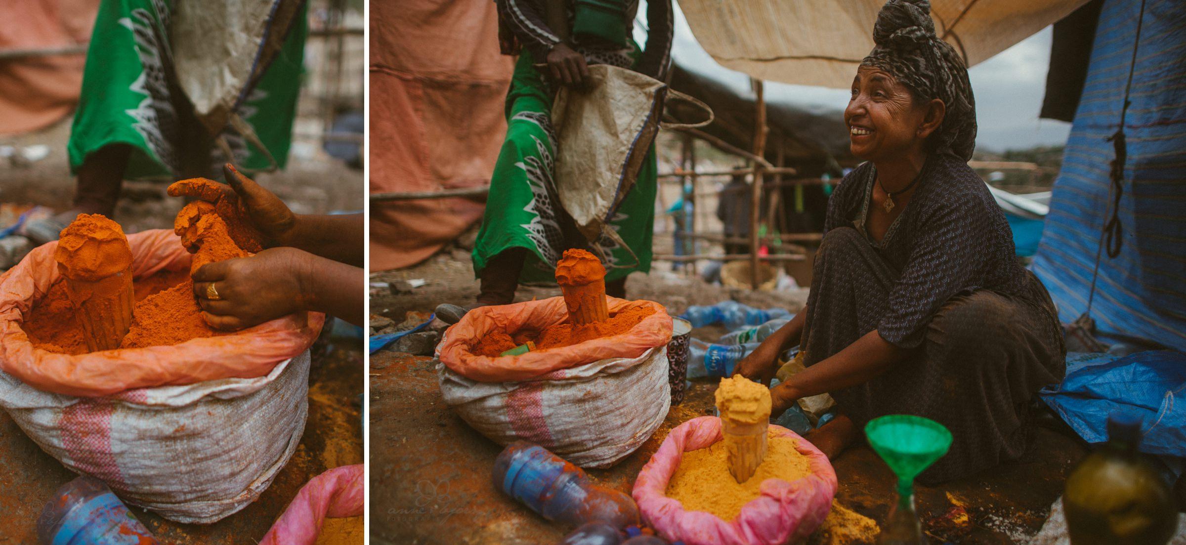 Gewürze, Markt, Äthiopien, verkaufen, Paprika, orange